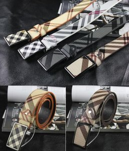Wholesale Plaid Designers Belts For Men Luxury Cowhide Brand Women Genuine Leather Pin Buckle Canvas Belts High Quality Ceinture Homme Feamle Cintos