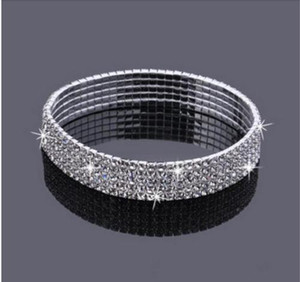 5-Row Five Rows Sparkly Rhinestone Anklet Crystal Stretch Cz Ankle Bracelet Sexy Anklet Wholesale Bridal Wedding Accessories for Women