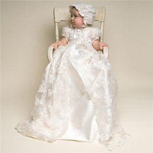 Wholesale Baptism Dress Children Christening Gown Baptism Girls Dresses Long Lace Two Piece Baby Clothes Shower Party Cloth baby girl clothes