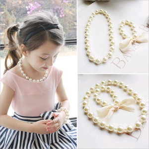 Wholesale Korean Kids Necklace Bracelet Set for Baby Girls Exaggerated Big Beads Pearl Jewelry Set White Color