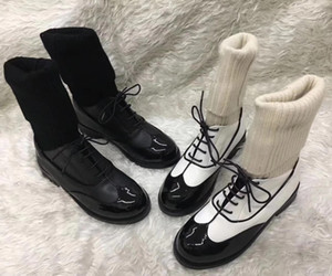 White Black Women Patent Leather Short Boots Famous C Brand Knitting Sock Ankle Boots Lace Up Spiked Creepers Shoes With Original Box
