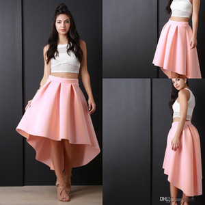 Free Shipping Pink High Low Women Skirs For Teens Satin Pleats A Line Prom Party Dresses Zipper Back Cheap Girls Pageant Skirts