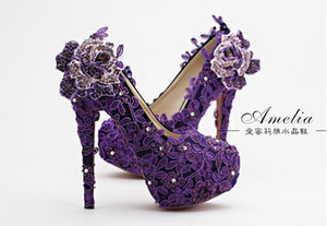 HOT!! 2016 high quality European and American fashion purple flower bride shoes with high thin diamond wedding dress woman shoes