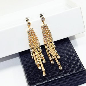 Wholesale NEW fashion Luxury trend cm long earrings diamond beads metal tassel pendant earrings can Prevent allergy