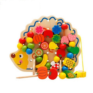 Wholesale 82pcs Cute beaded toy hedgehog wooden math toys for kids years old baby brinquedos wood montessori Educational toy fun games
