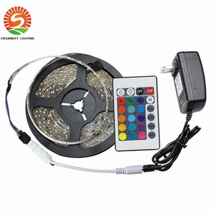 Wholesale LED Strips 5M Set 3528SMD 60led LED Strip Light Waterproof 24Keys IR Remote Controller Power supply Adapter White Red RGB LED strips light