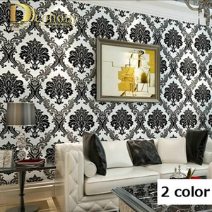 Wholesale Modern High Quality Vintage European Damask Wallpaper Rolls Design Flocking Textured Luxury Wall paper for background Wall R362