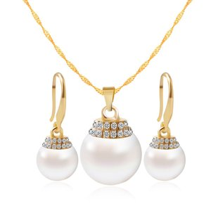 Wholesale Fine pendant Necklace earring Jewelry Set goods trade platform with micro pearl diamond jewelry set bride