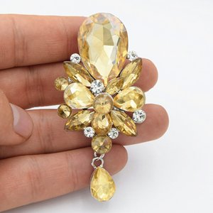 Wholesale Fantastic Yellow Color Waterdrop Crystal Pendent Jewelry Brooch Fashion Women Hijab Wear Pin Cheap Exquisite Broaches Pins