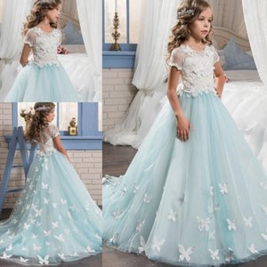 Wholesale Glitz Lace Flower Girl Dresses With Short Sleeves Butterfly Appliques Graduation Girls Pageant Dress Sheer Back Buttons Kids Wedding Gowns