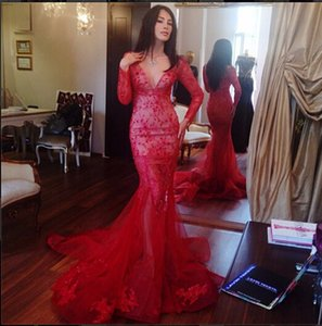 Wholesale Sexy Long sleeves Mermaid V-neck Celebrity Dresses Red Special Occasion Dresses luxurious Tulle Hourglass sheath Evening Gowns