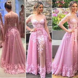 Wholesale Pink Long Sleeves Evening Dresses With Overskirt Bow Sheer Neckline Lace Appliques Prom Dress Sexy Formal Party Dresses Vestidos De Fiest