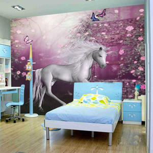 Wholesale any size murals papel de parede photo wallpaper roll Children s cartoon horse murals d wall paper tapete bedroom wall