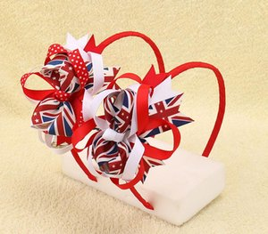 Wholesale DHL FREE the Union Jack Flag Striped Ribbon Plastic Hairband Patriotic Hair Bows For Kids Girls Headbands Children Hair Accessories