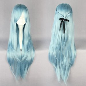 Wholesale MCOSER High Quality cm Long Blue Anime Sword Art Online Asuna Yuuki Cosplay Wig