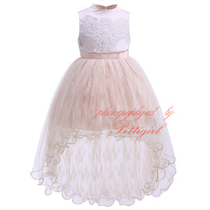 Wholesale Pettigirl New Girl Prom Dress Sleeveless Flower Embroidery Chiffon Hollow Elegant Fluffly Children Noble Wedding Clothing GD81219 L