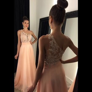 Wholesale Sexy Coral Beaded Prom Dresses Long 2017 Appliques Crystal Sheer Illusion Bodice One Shoulder Formal Dresses Evening Wear Party Gowns