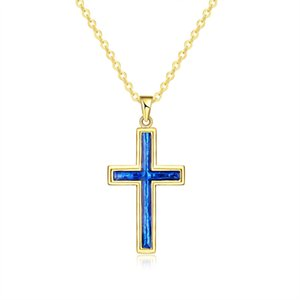 Wholesale Christmas Gift Gold Plated Cross Pendant Blue Opal Crystal Rolo Chain Necklace for Women
