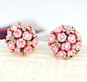 Wholesale New Europe and the United States ceramic flower flowers diamonds elegant temperament earrings alloy ear clip