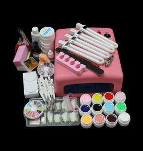 Wholesale- EM-93 Hot Sale Pro 36W UV GEL Pink Lamp & 12 Color UV Gel Nail Art Tool Kits Sets
