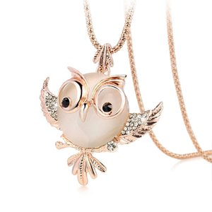 Wholesale New Trendy Chubby Owl Necklace Fashion Rhinestone Crystal Jewelry Statement Women Necklace Chain Long Necklaces Pendants
