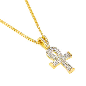 Wholesale Hip Hop Gold Plated Cross Necklace Mens Full Iced Out Crystal Egyptian Ankh Key Pendant Necklace With Cuban Chain