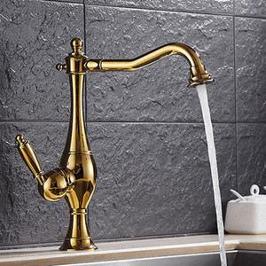 Wholesale 2017 Hot Sales Antique Gold Bathroom Faucet With Single Hole Single Holder Swivel Spout Copper Antique Bathroom Sink Faucet HS424