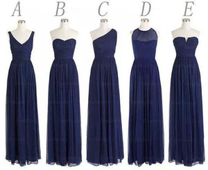 Wholesale navy blue dresses for sale - Group buy New Styles Custom Made Long Bridesmaid Dresses A Line Back Zipper Floor Length Navy Blue Chiffon Ruched Cheap Prom Evening Party Dress