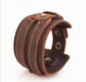 Wholesale New Vintage Leather Cuff Bracelets Men Fashion Handmade Double Chain Wide Leather Bangles Black Brown Unisex Jewelry KL