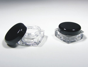 Wholesale cosmetic jars black lids for sale - Group buy 50Pcs Cosmetic Jars Thick Wall Square Plastic Beauty Containers Packaging Gram Black or Clear Lids free ship