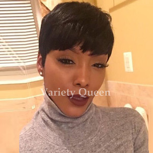Human Hair Full Lace Short Cut Wigs Chic Soft Feeling natural black Brazilian Human Hair Rihanna Wigs for black woman
