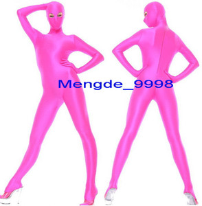 Sexy Hot Pink Lycra Spandex Suit Catsuit Costumes With Open Eyes Unisex Outfit Sexy Bodysuit Cosplay Costumes Halloween Cosplay Suit M252