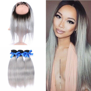 T1B SLiver Grey Dark Root Ombre Straight Malaysian Virgin Human Hair 3 Bundles With 22.5x4x2'' Full Lace 360 Band Frontal Closure