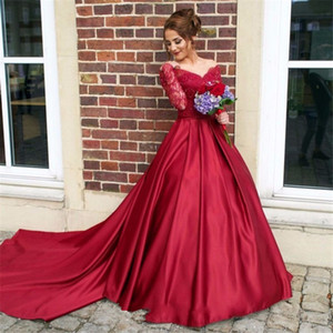 V-neck Off the Shoulder Burgundy Long Sleeves Prom Gowns Matte Satin Illusion Back Evening Dress Formal Party Dress vestido de formatura on Sale
