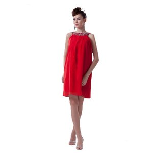 Wholesale Modest Ladies Red Chiffon Short Dress 2018 Fashion Party Beaded Halter Neckline Eren Jossie Designer Style