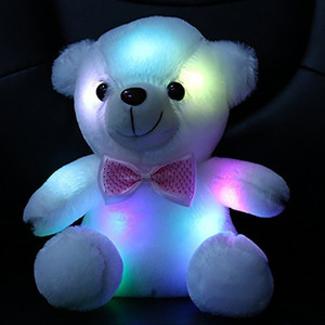 Wholesale 20cm Creative Light Up LED Teddy Bear Stuffed Animals Plush Toy Colorful Glowing Teddy Bear Christmas Gift for Kids