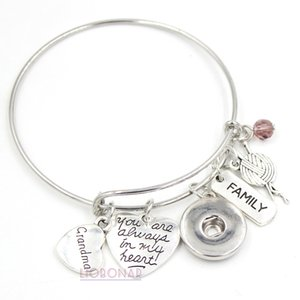 Wholesale Snap Jewelry Adjustable Expandable Wire Bangle Memorial Grandma Charm Bracelet Snap Button Bracelets for Family Grandma Gift