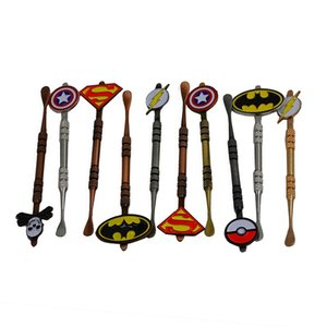 Hot Sale Wax Dabber tool with Pokeball Batman Captain superhero Flash and Skull Design stickers wax jar Dab tool 5 colors 120mm free ship