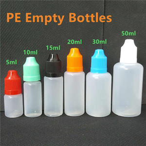 Wholesale E Cig Liquid Bottles ml ml ml ml ml ml Empty Dropper Ldpe Plastic Childproof Caps Long Thin Needle Tips For Vape Oil