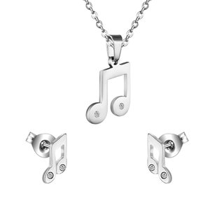 2016 Hot Jewelry Set Earrings + Necklace Pendant Music Musical Note Stainless Steel Shiny CZ Crystal Birthday Gift,Free Chain