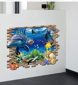 Wholesale New Marine style Wall Stickers D Catoon Wall Decals Living Room Bedroom Removable Wall Stickers Murals cm cm