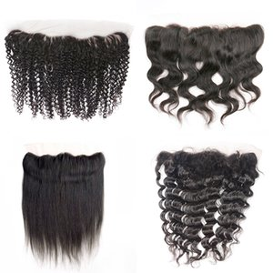 Wholesale deep wave hair middle part for sale - Group buy 4x13 lace frontal unprocessed virgin brazilian human hair free middle part straight body deep wave jerry kinky curly