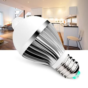 Wholesale 180degree e27 W Infrared Motion Light Bulb with Aluminium Radiator and Milky PC Cover