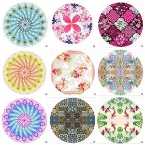 17cr Western Style Round Beach Towel Printing Shawl Creative Towels Flowers Fish Yoga Mats Peacock Feathers Pattern Design Washcloth New