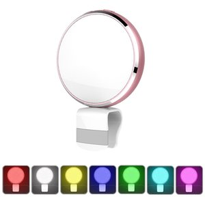 Wholesale Seven Colors Selfie LED Fill in Flashlight Adjustable Lightness with Mirror for Universal Phone B