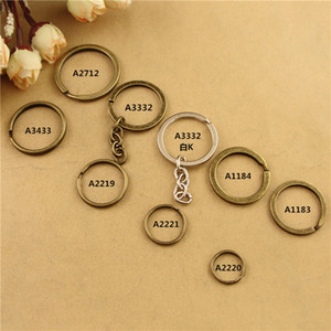 Wholesale Vintage DIY handmade jewelry accessories bronze Keychain round Key Ring clasps antique bronze jump rings silver split ring key holder hook