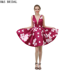 Fuchsia Floral Print Girls 2017 Homecoming Dresses Real Model Photos V Neck Short Party Dress Cocktail Gowns B042