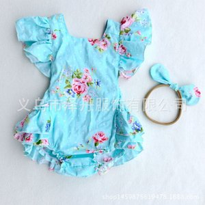 Wholesale 2017 Ins Baby Girl Print Flower Rompers Cute Floral Lace Jumpsuits Hollow back Headband Two Piece Set Toddler Soft Cotton BLUE Bodysuits