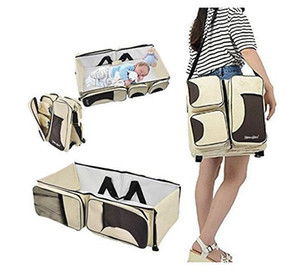 Wholesale Baby in Diaper Bags Portable Bassinet Diaper Bag Changing Station Pad Multi function Large Capacity Nappy Bags Beige