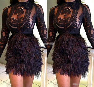 Wholesale Sexy Black Lace Cocktail Party Dresses With Feathers 2019 Sheer Neck Long Sleeve Knee Length Plus Size Evening Occasion Wears Vestidos
